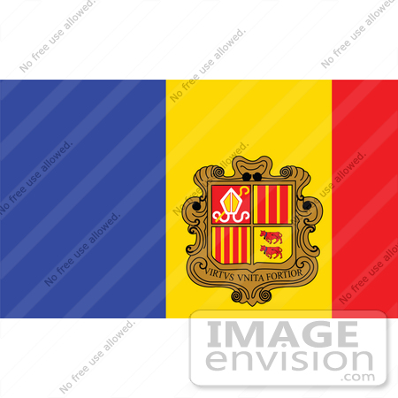 Clip Art Graphic of the Blue, Red And Yellow National Flag Of The.