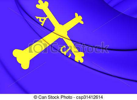Clipart of Principality of Asturias Flag, Spain. Close Up.