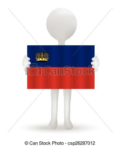 Vector Clip Art of small 3d man holding a flag of Principality of.
