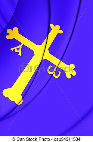Drawings of Principality of Asturias Flag, Spain..