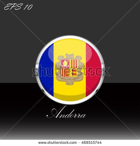 Principality Of Andorra Flag Isolated On Black Background. Andorra.