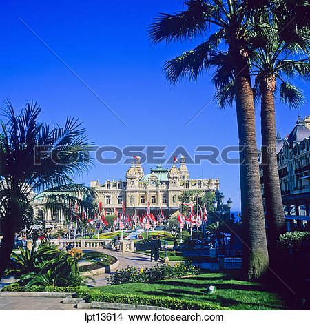 Stock Photo of CASINO AND PALM TREES MONTE CARLO PRINCIPALITY OF.