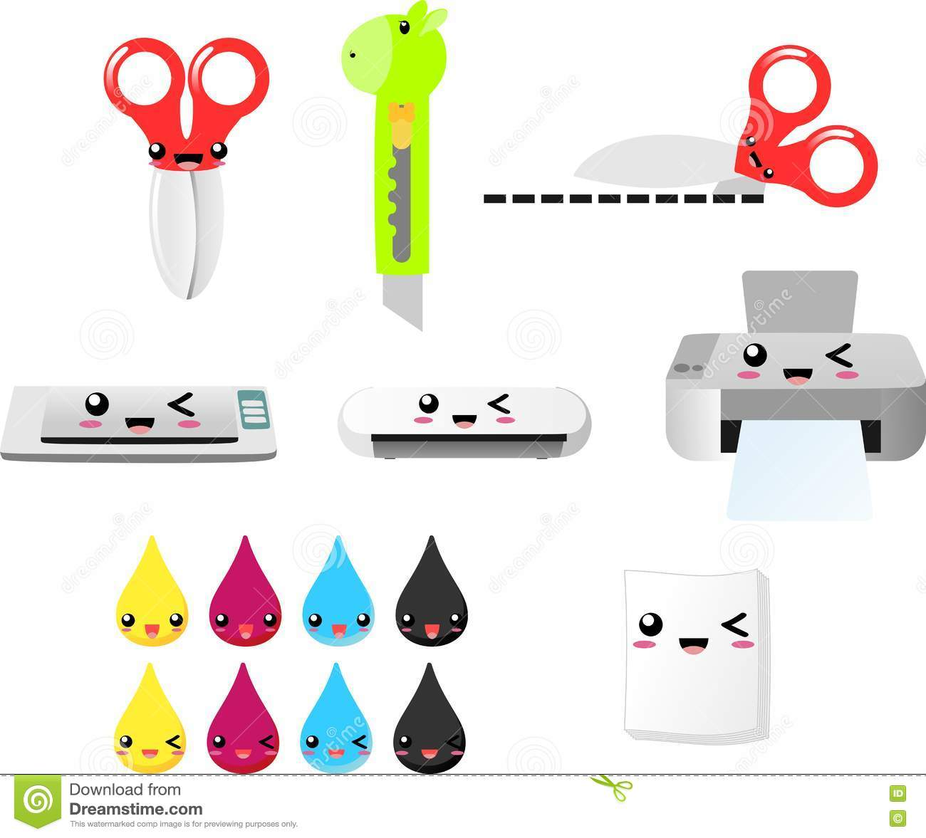 Print And Cut Clipart Vector EPS, Scissors, Printer, Ink, Papers.