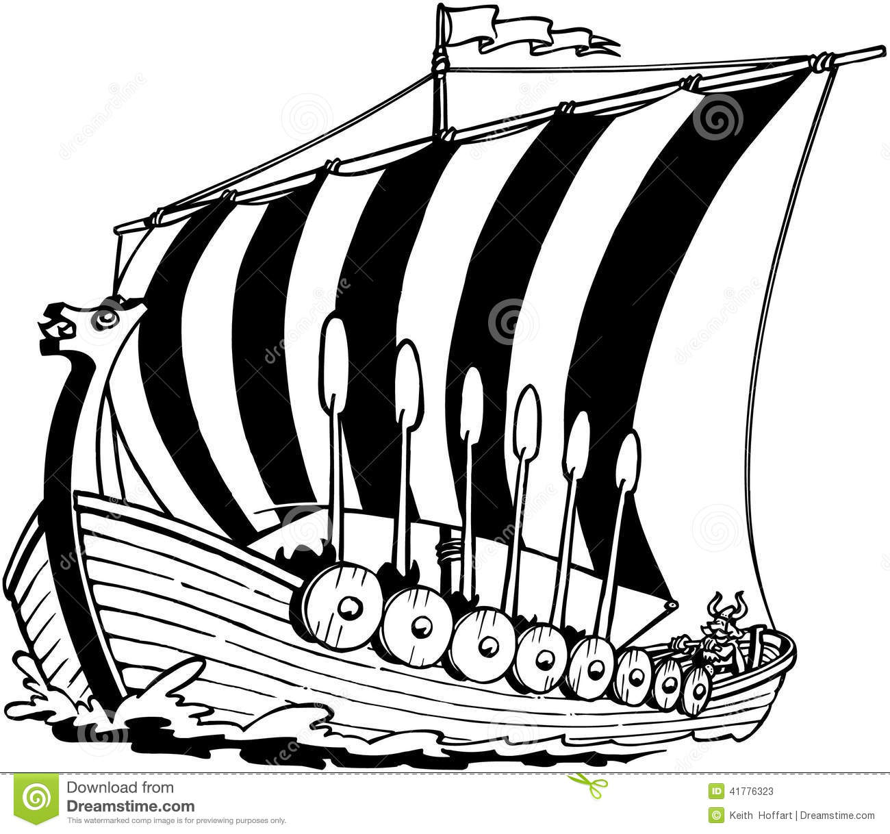 Viking Sailboat Cartoon Vector Clipart Stock Vector.