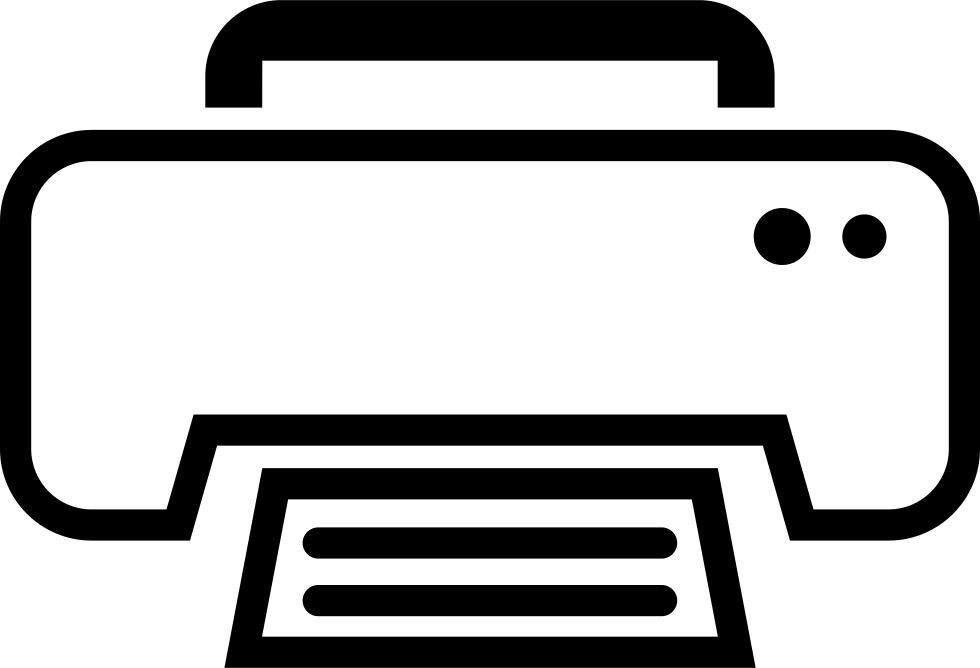 White Print Outline Interface Symbol For Print Button Svg.
