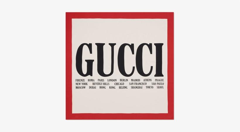 Gucci Cities Print Silk Scarf.