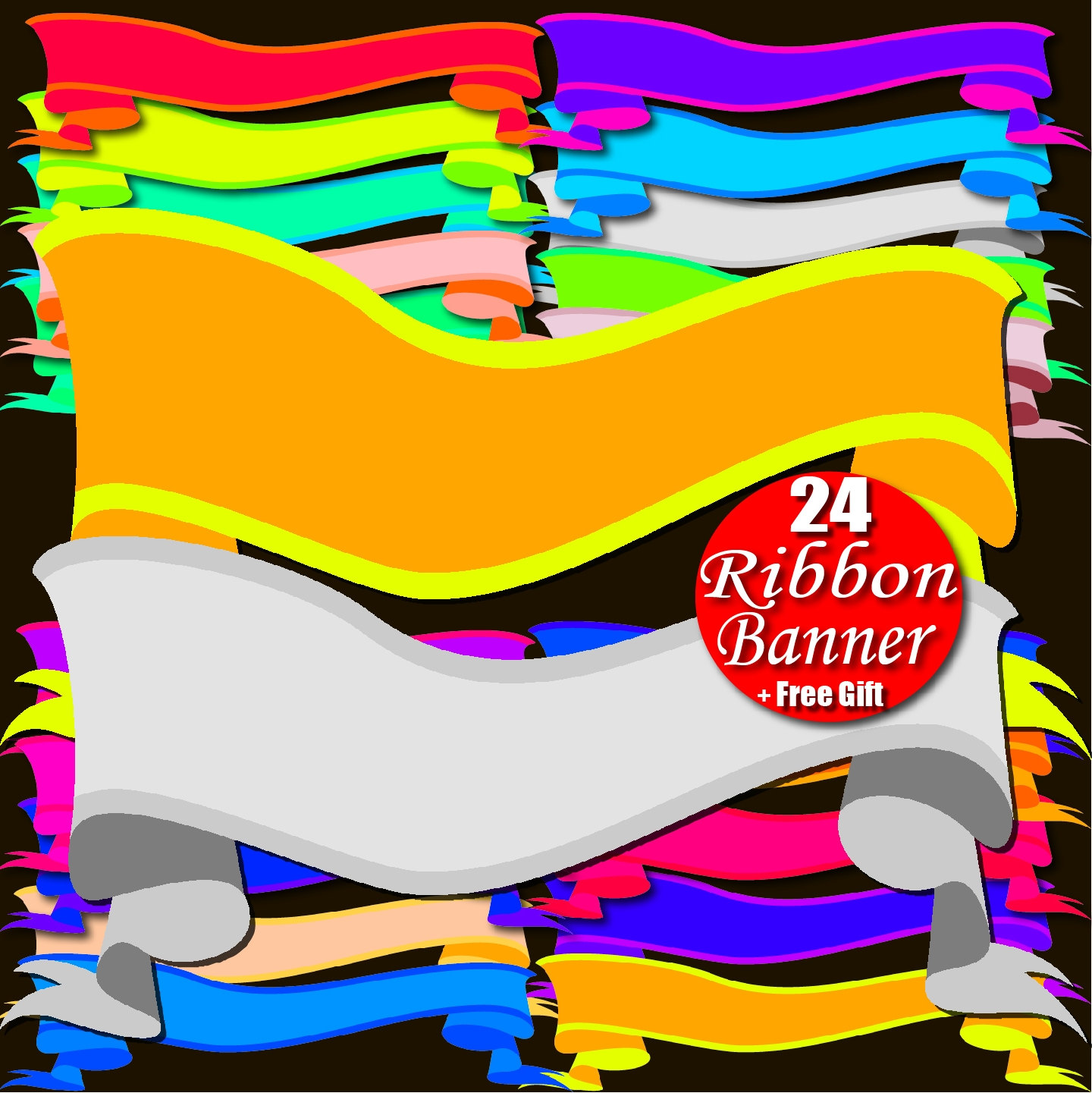 Digital Ribbon Banner Clipart Rainbow Border Frame Tag Ribbon.