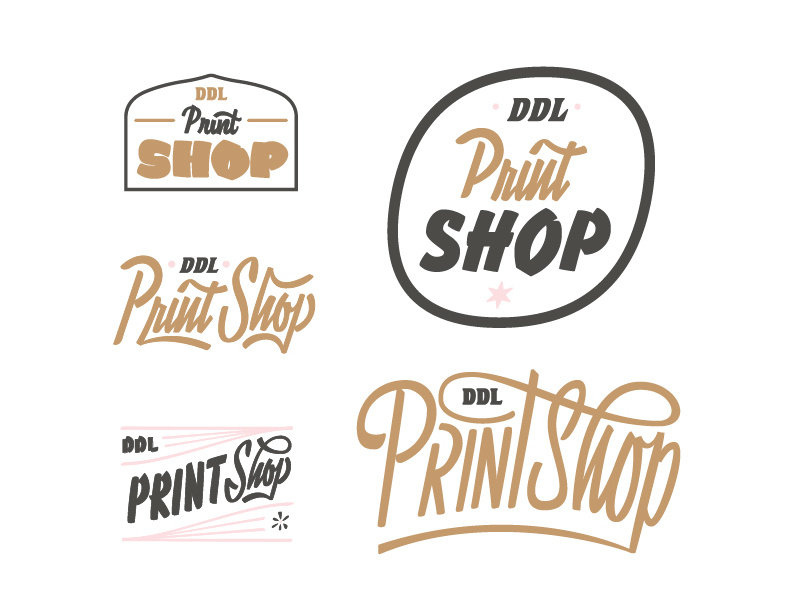 Unused Print Shop Logos by Ambrose Holiday for Delicious.