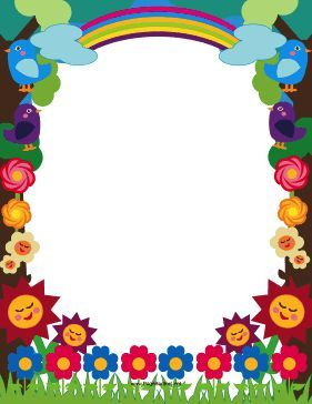 This printable meadow border is decorated with cute.