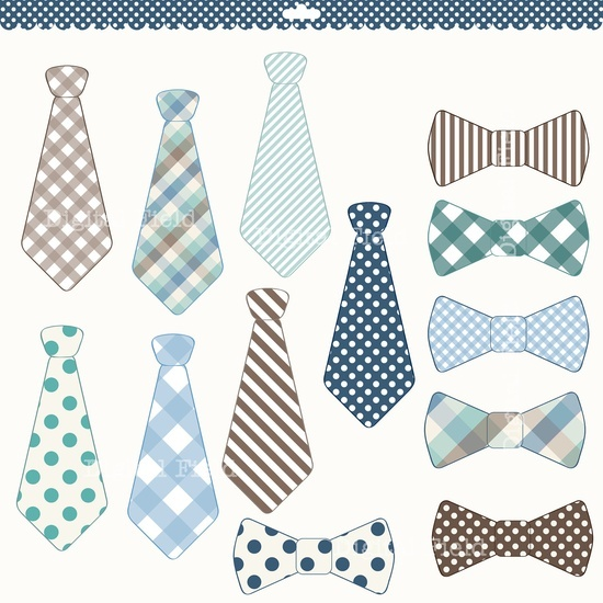 Necktie and Tie Bow clip art set.