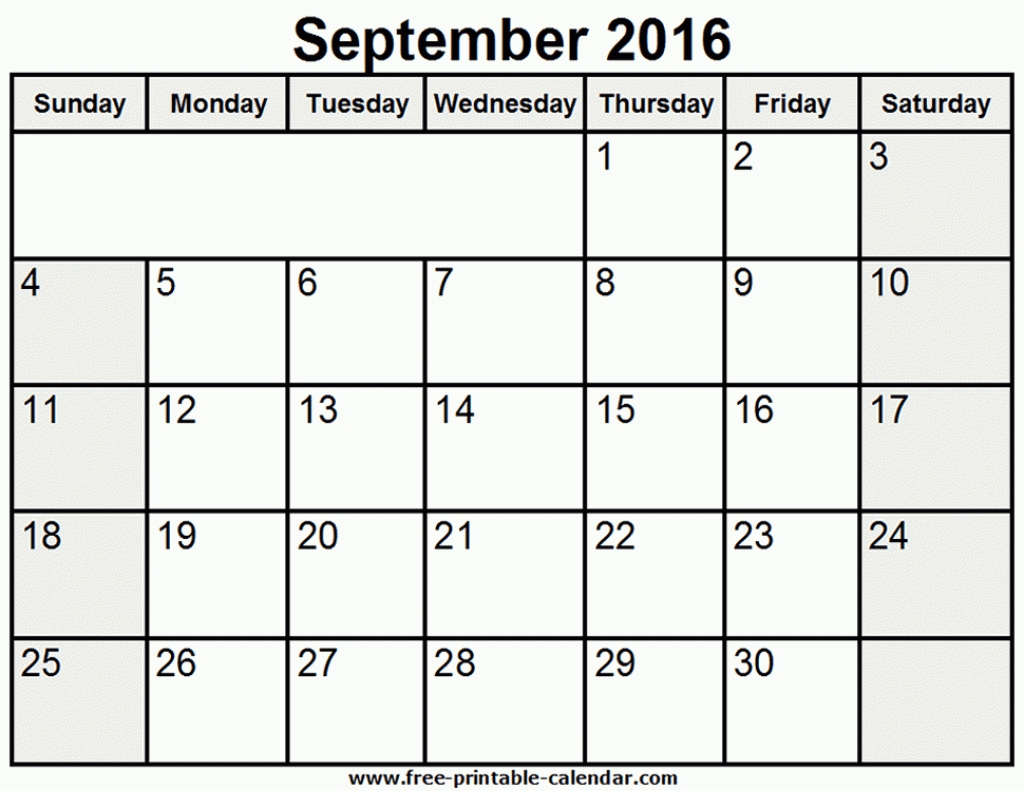 Printable Calendar September 2016 With Clipart Clipartfest Images.