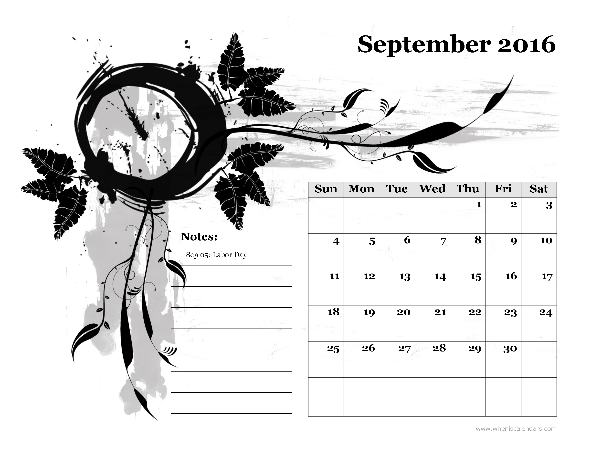 September 2016 Calendar Philippines.