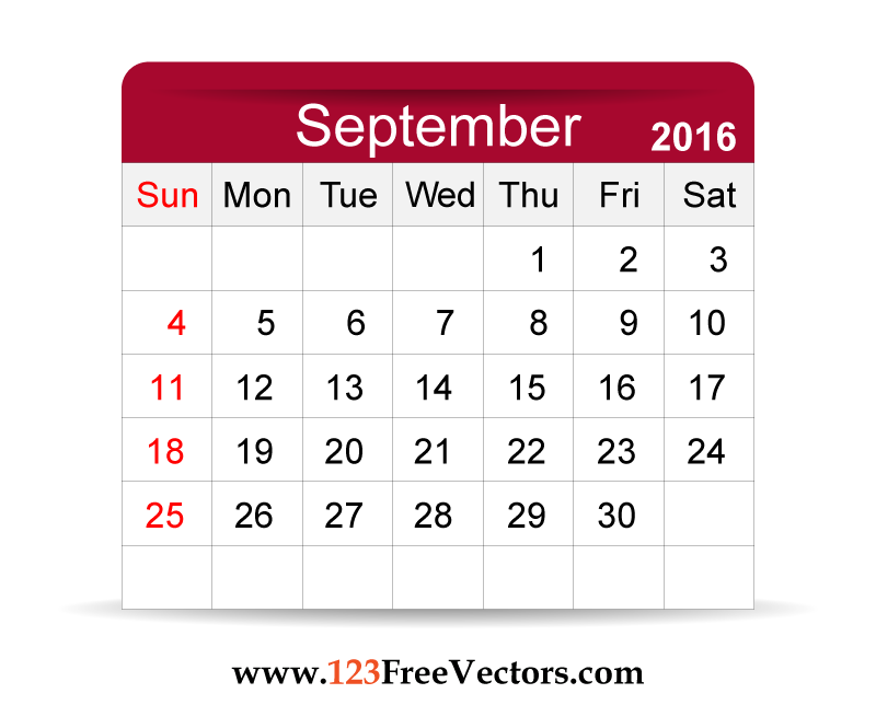 Download Free Vector 2016 Calendar September Printable Template.