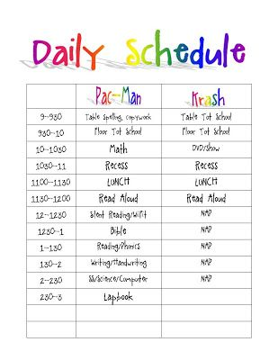 Printable Classroom Schedule Template Clipart.