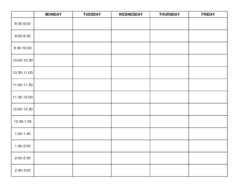 Weekly Schedule Template Monday Friday Choice Image Template