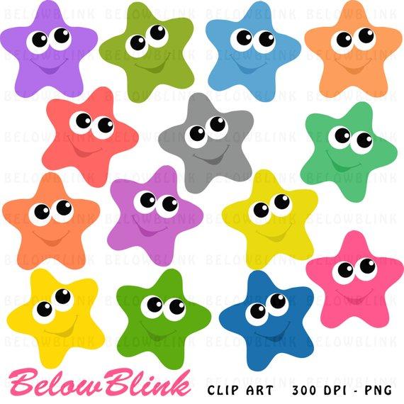Happy Stars Clipart Clip Art Digital Scrapbooking Commercial.