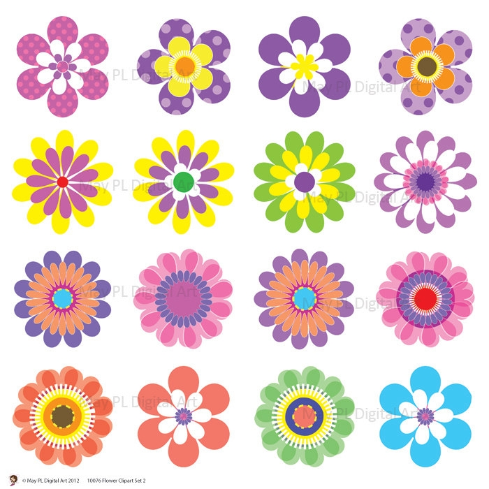 Free printable flower clipart with transparent background.