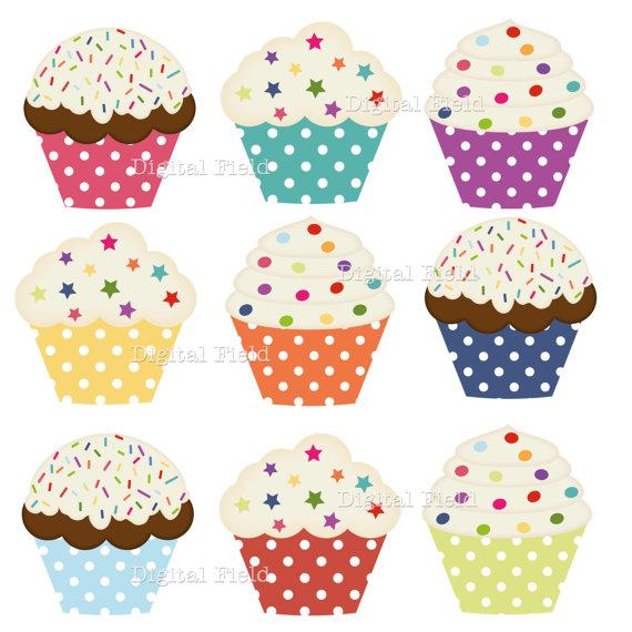 Polka Dot Cupcake Clip Art Set.