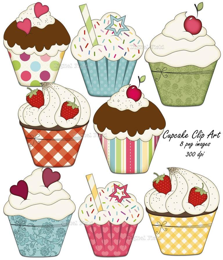 Cupcake Clip Art Set.