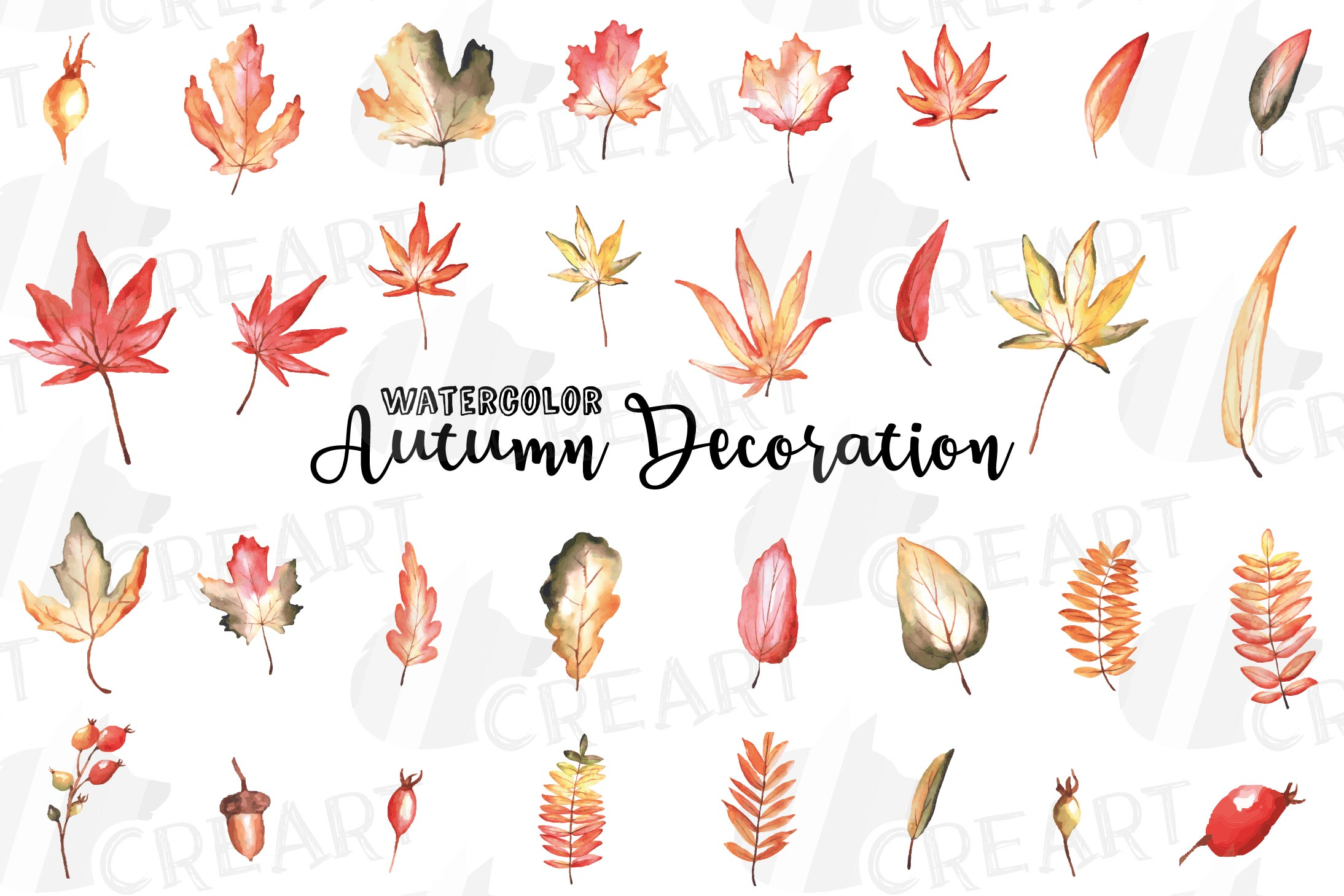 Printable autumn leaves watercolor decoration clip art pack..