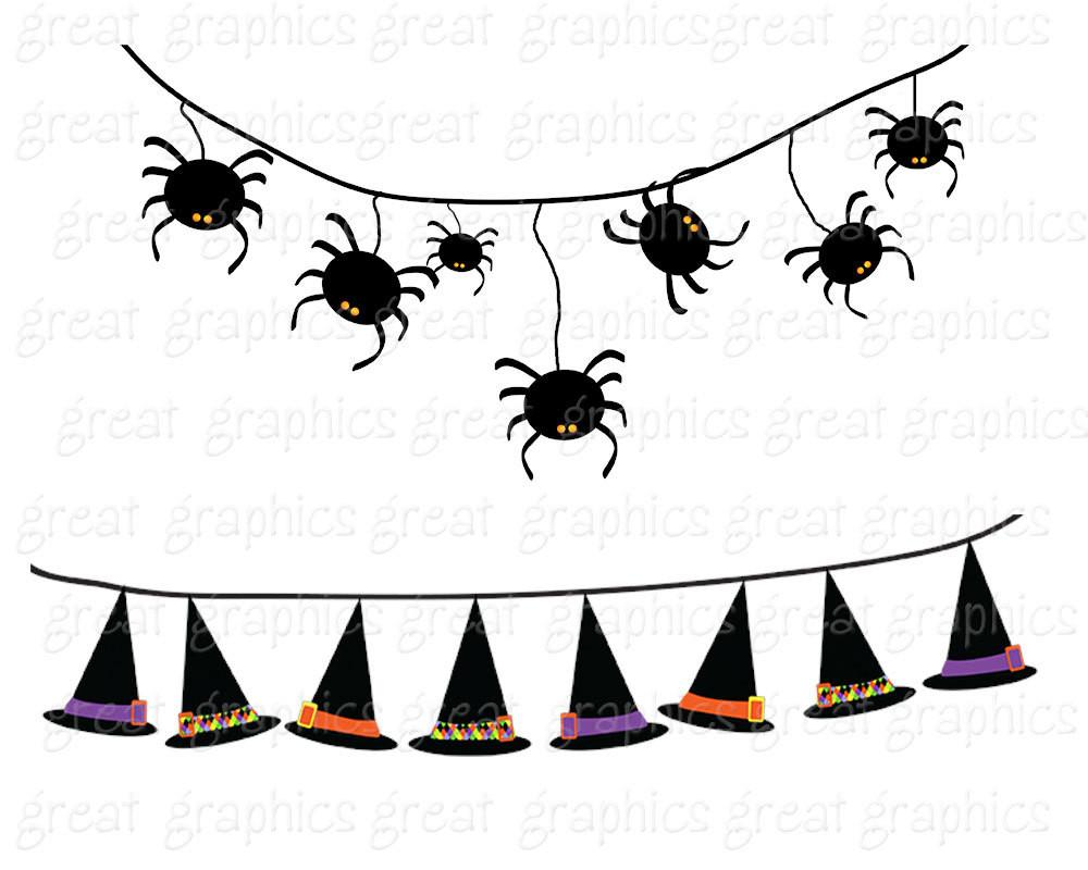 Halloween Bunting Halloween Clipart Digital Halloween Clip Art Witch Hat  Candy Corn Jack O Lantern Printable Clipart.