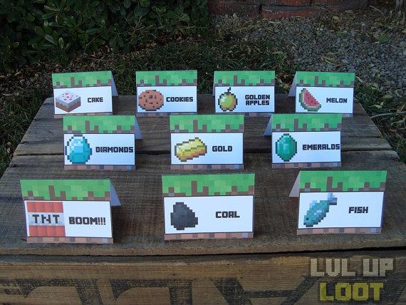 10 Custom Minecraft Food Tent Cards.