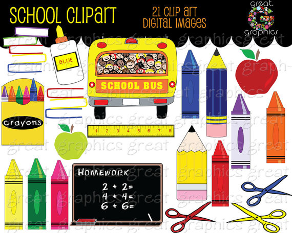 School Clipart Printable School Clip Art School Bus Crayon.