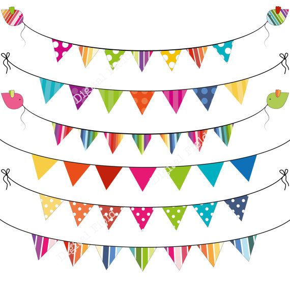 INSTANT DOWNLOAD Colorful Summer Bunting Clip Art Set.