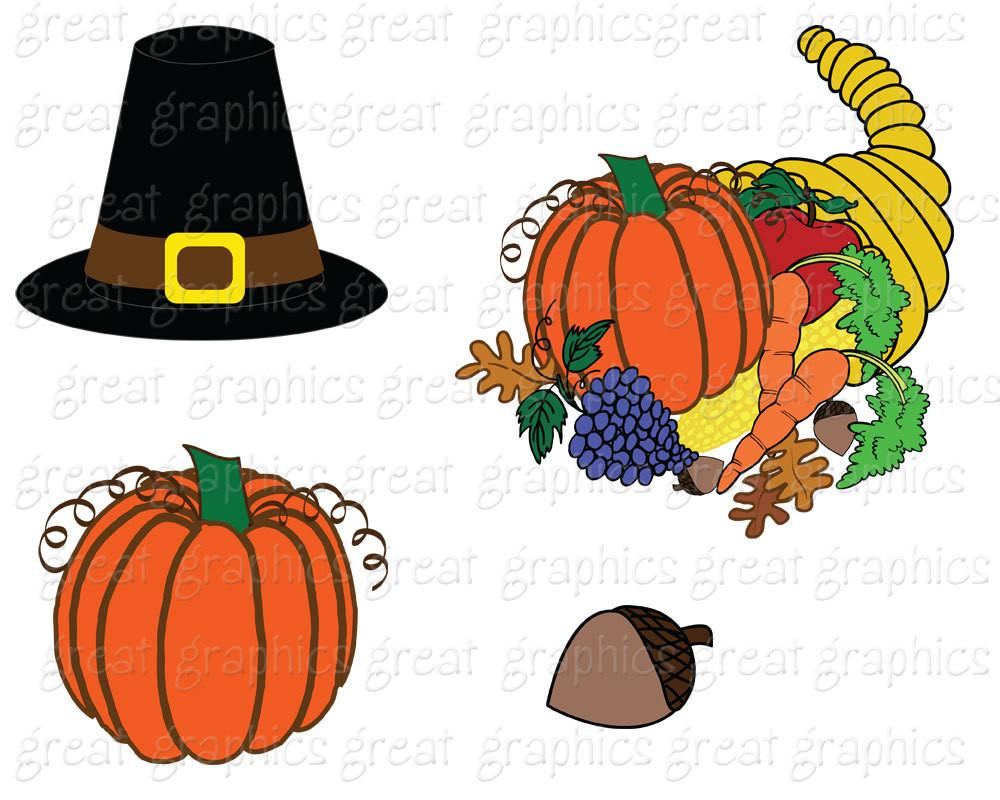 Thanksgiving Clip Art Thanksgiving Digital Clipart Turkey Clip Art  Printable Thanksgiving Clipart Pilgrim Hat Wreath.