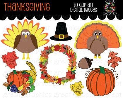 Thanksgiving Clip Art Thanksgiving Digital Clipart Turkey.