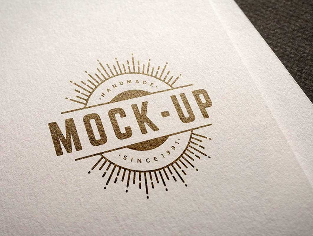 Logo Printed On Heavy Stock Letterhead Paper PSD Mockup.
