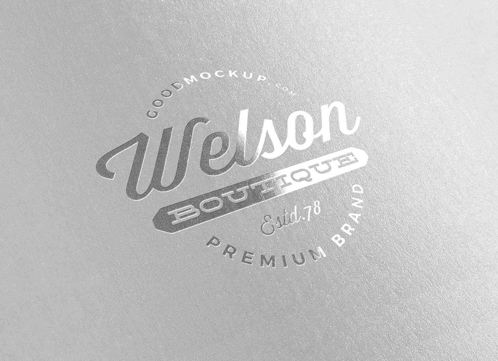 Free Silver Foil Printed Logo Mockup PSD.