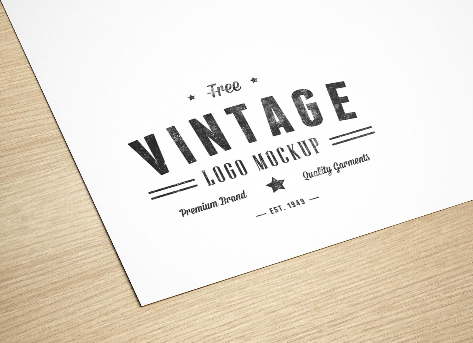 Free Natural Paper Printed Logo Mockup PSD.