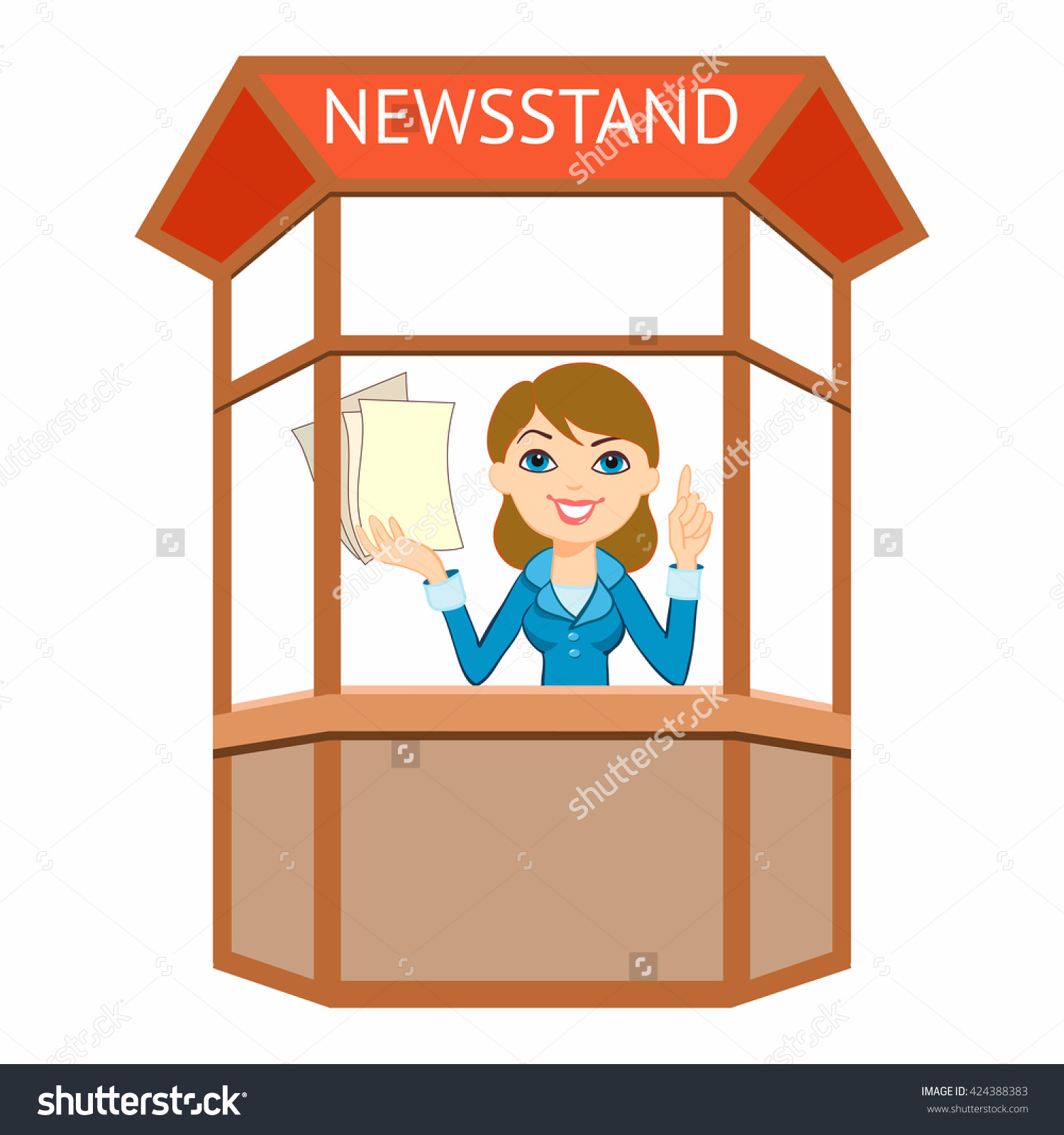 Happy Saleswoman, Shop Assistant, Newsagent, Press, Newspapers.