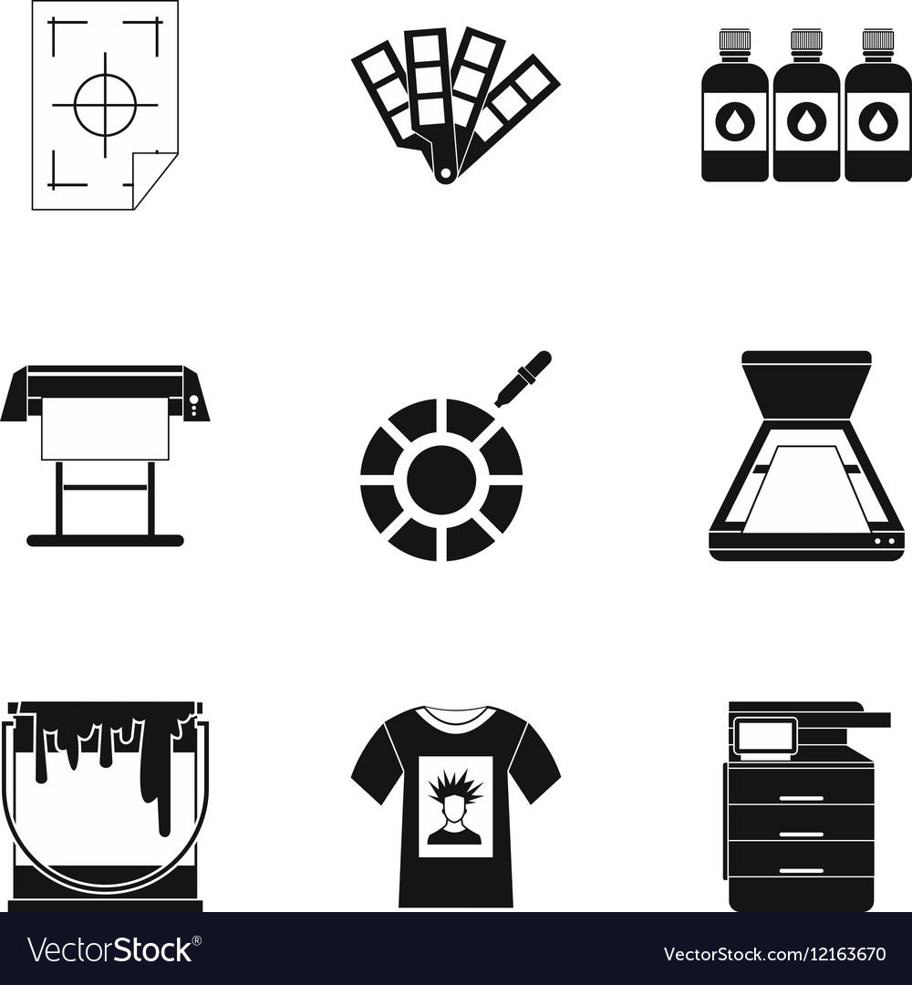 Printing services icons set simple style.