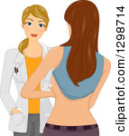 Clipart of a Composite of Profiled Before and After on a Woman.
