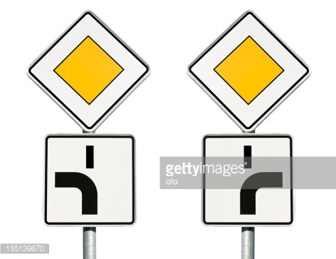 Traffic Sign Priority Road Stock Photo.