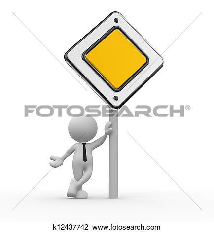 Clip Art of Priority road sign k12437742.