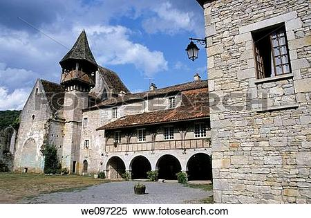 Stock Image of The priory of Espagnac Sainte Eulalie, France.