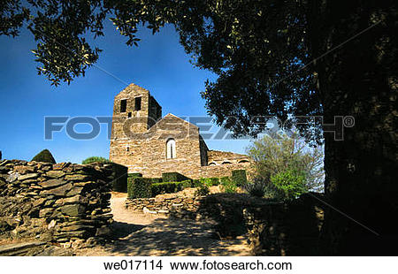 Stock Photo of Serrabone priory, built 11th century. Pyrenees.