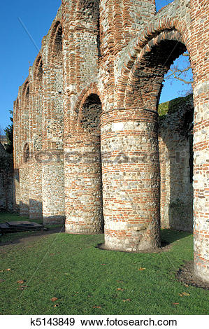 Stock Photograph of Colchester Priory pllars k5143849.