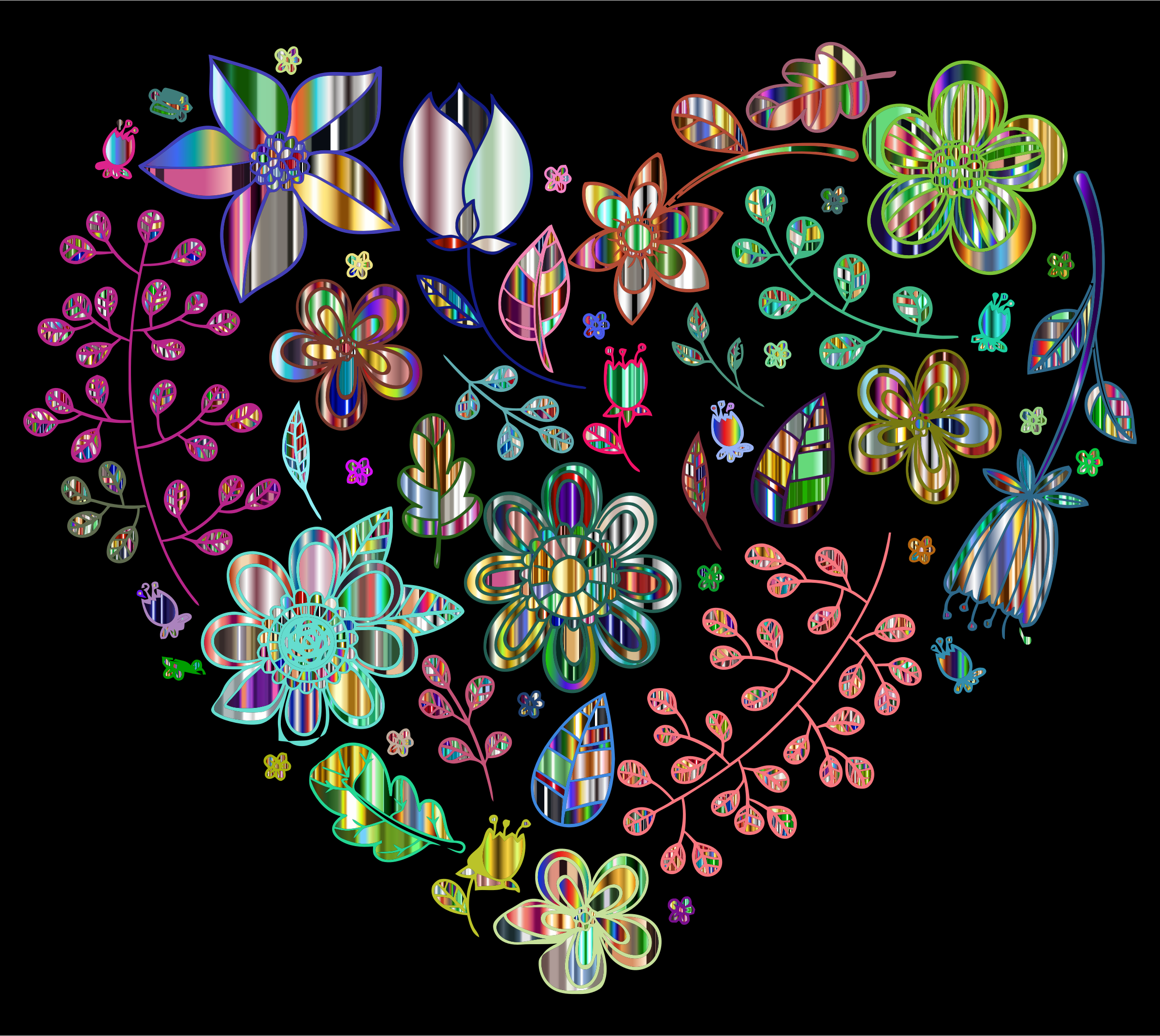 Prismatic Heart Pattern Vector Clipart.
