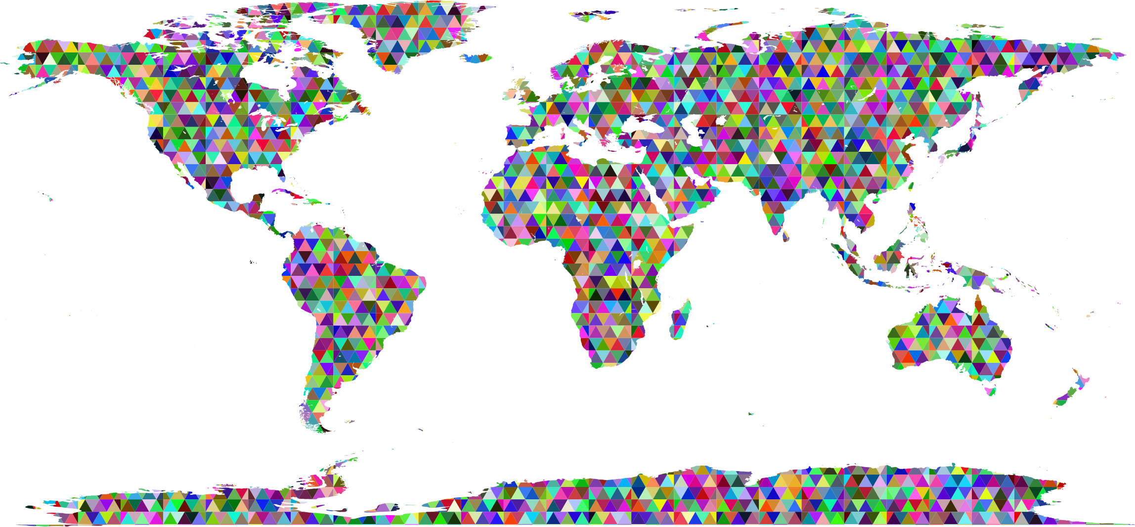 Clipart prismatic triangularized world map.