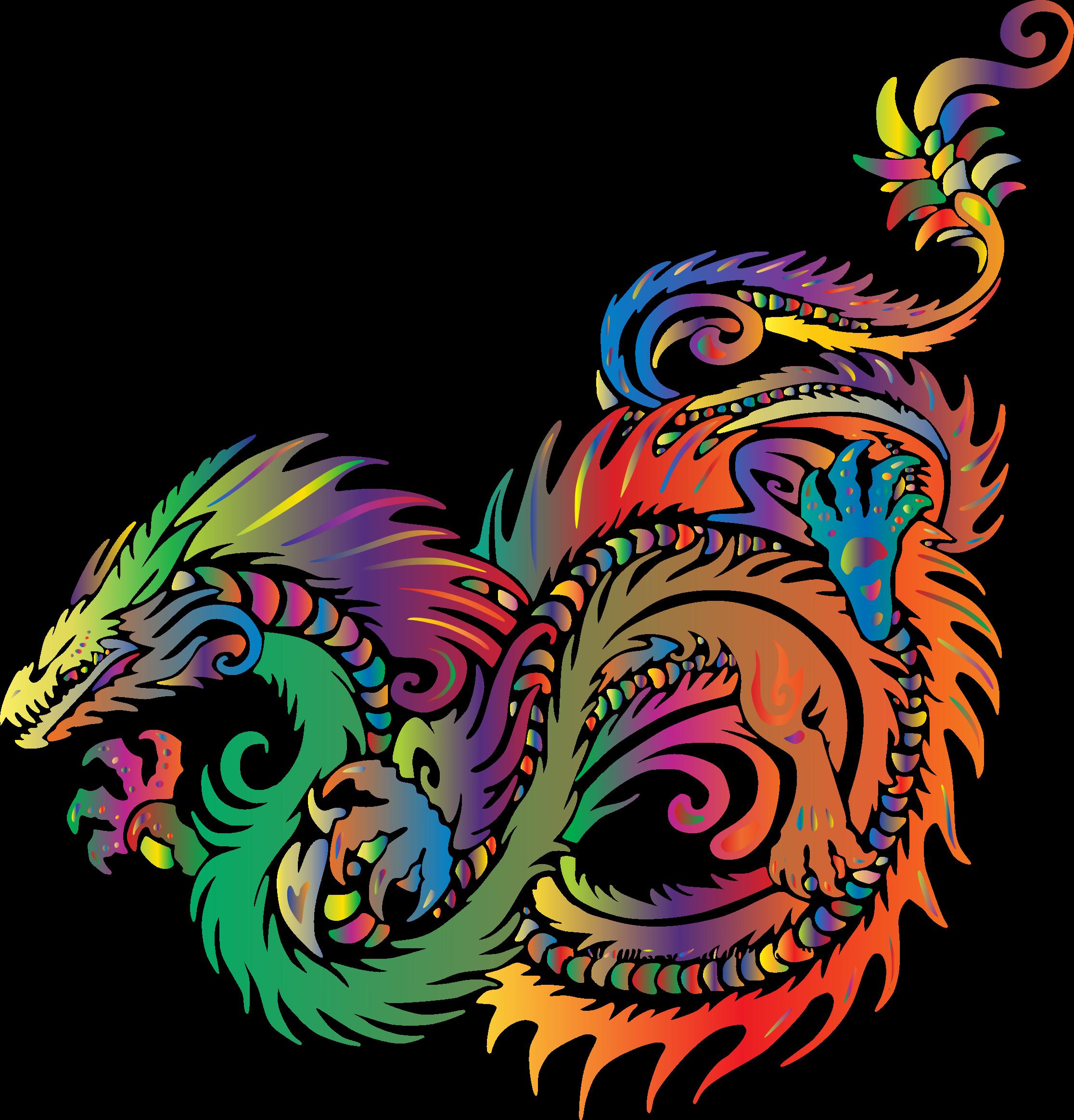 Colored Prismatic Dragon Vector Clipart.