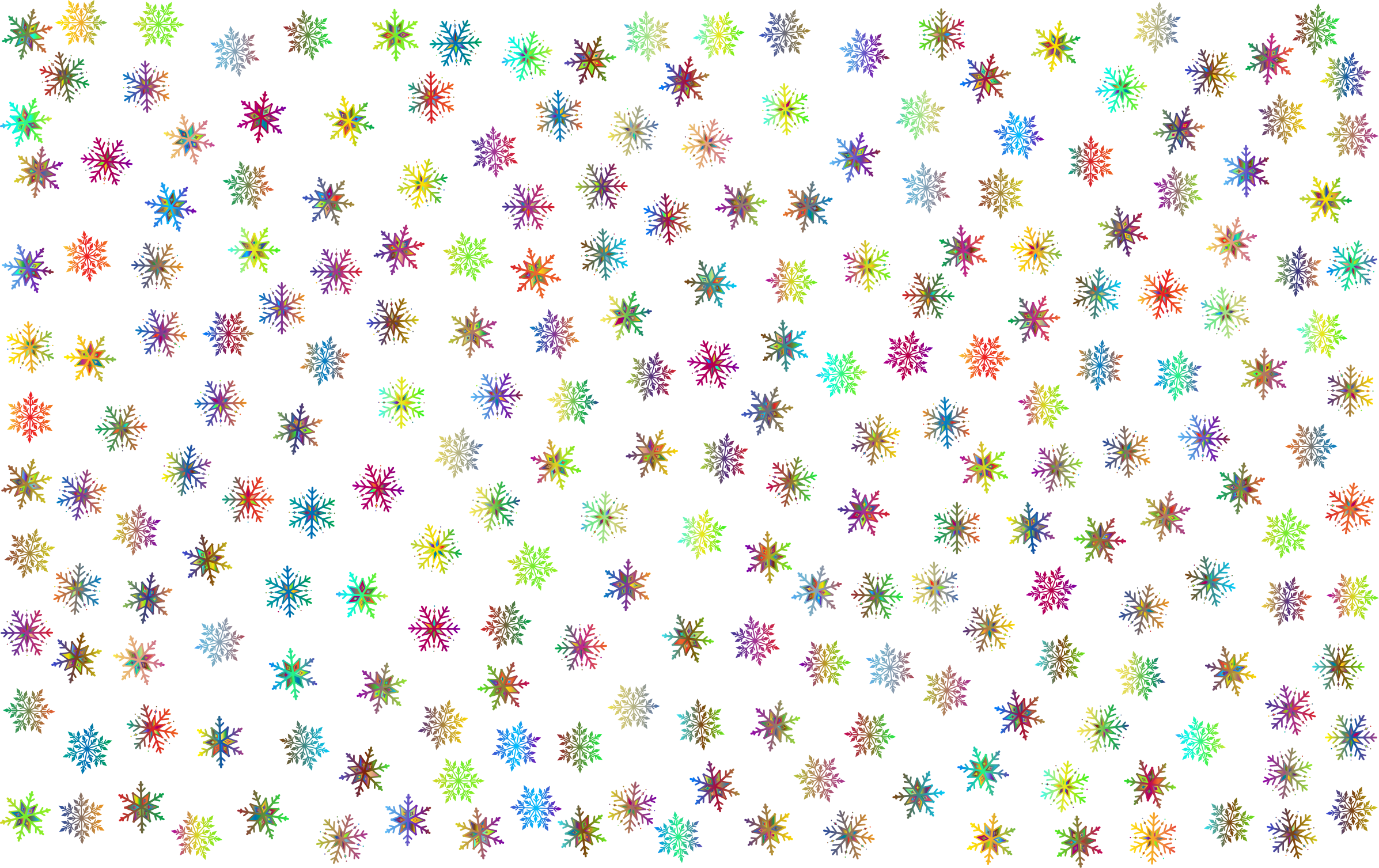 Colored Prismatic Snowflakes vector clipart.