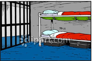 Bunks In a Prison Cell Royalty Free Clipart Picture.