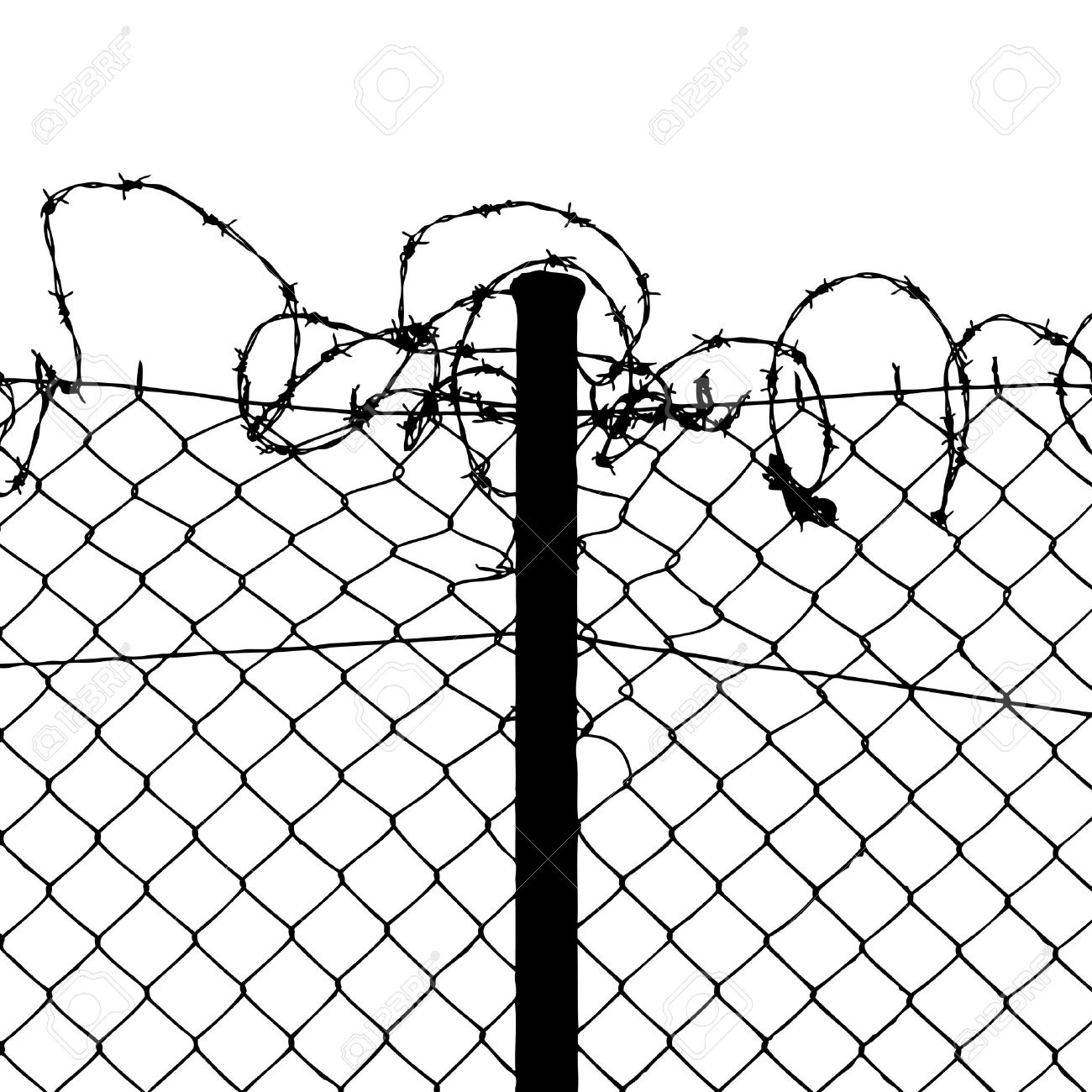 Wired Fence With Barbed Wires Royalty Free Cliparts, Vectors, And.
