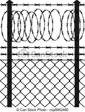Vector Clipart of Wire fence with barbed wires. Vector.