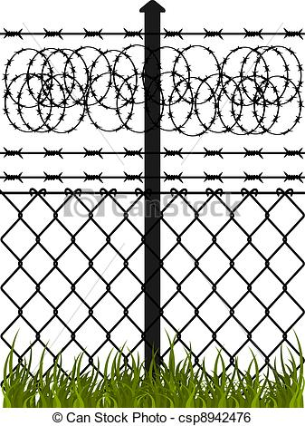 Vector Clip Art of Wire fence with barbed wires. Vector.