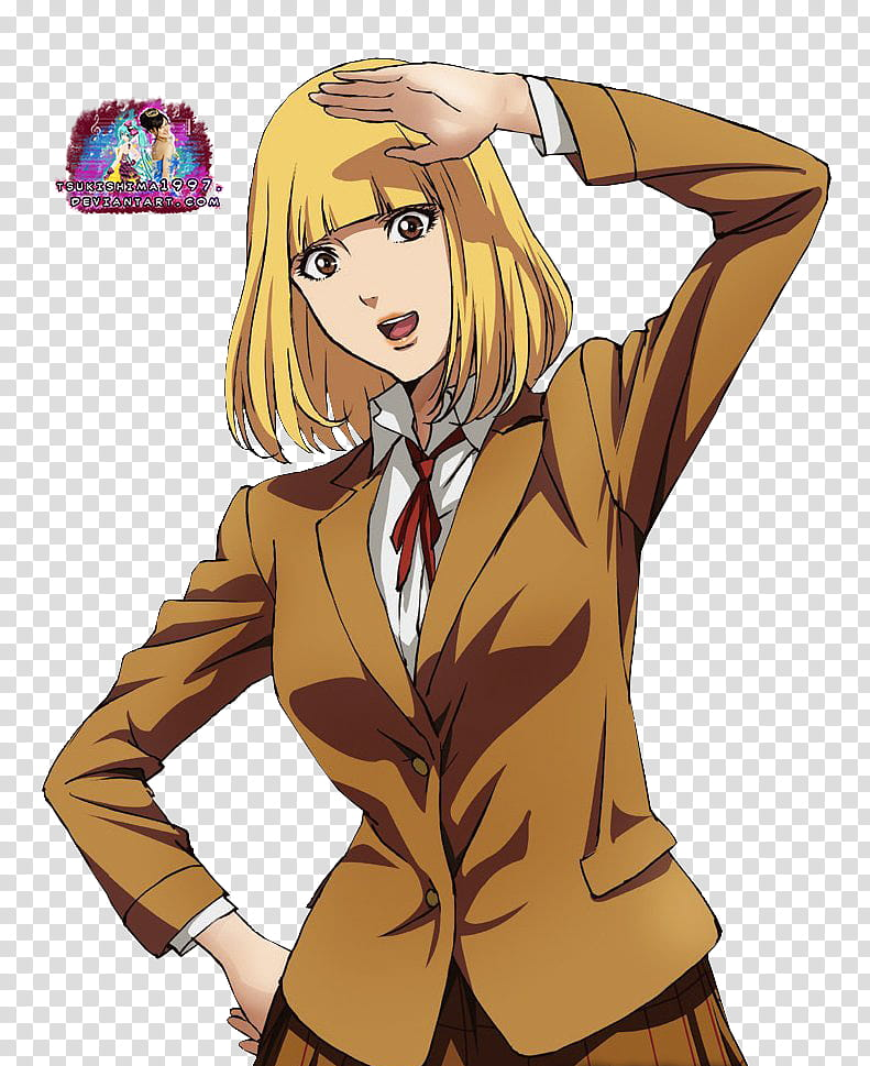 Prison School Hana Render, woman in brown dress illustration.